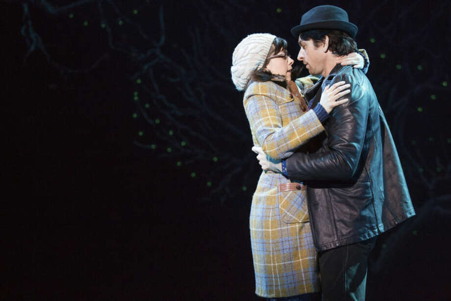 "This image released by Polk and Co. shows Margo Seibert and Andy Karl during a performance of ""Rocky,"" a musical based on the iconic film, at the Winter Garden Theatre in New York. (AP Photo/Polk and Co., Matthew Murphy)"