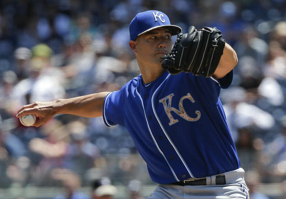 Kansas City Royals pitcher Jeremy Guthrie (11) delivers against the New York Yankees during the first inning of a baseball game, Monday, May 25, 2015, in New York. (AP Photo/Julie Jacobson)
