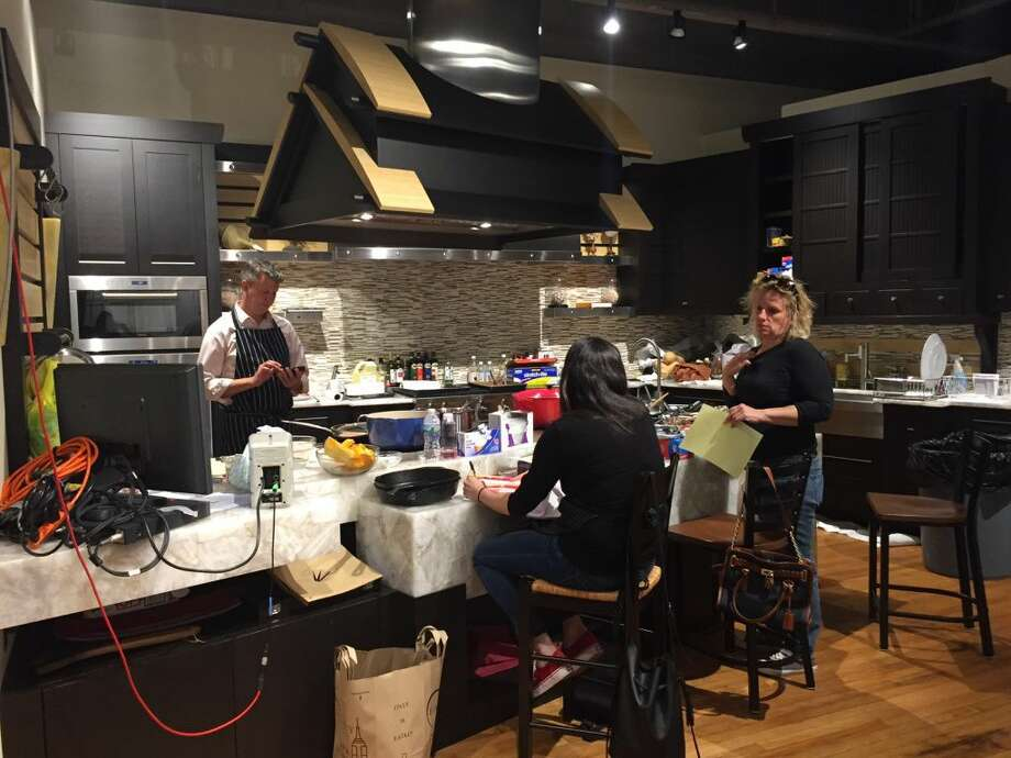 Lidia's culinary team helps prep ingredients for future segments. (Photo: Contributed)