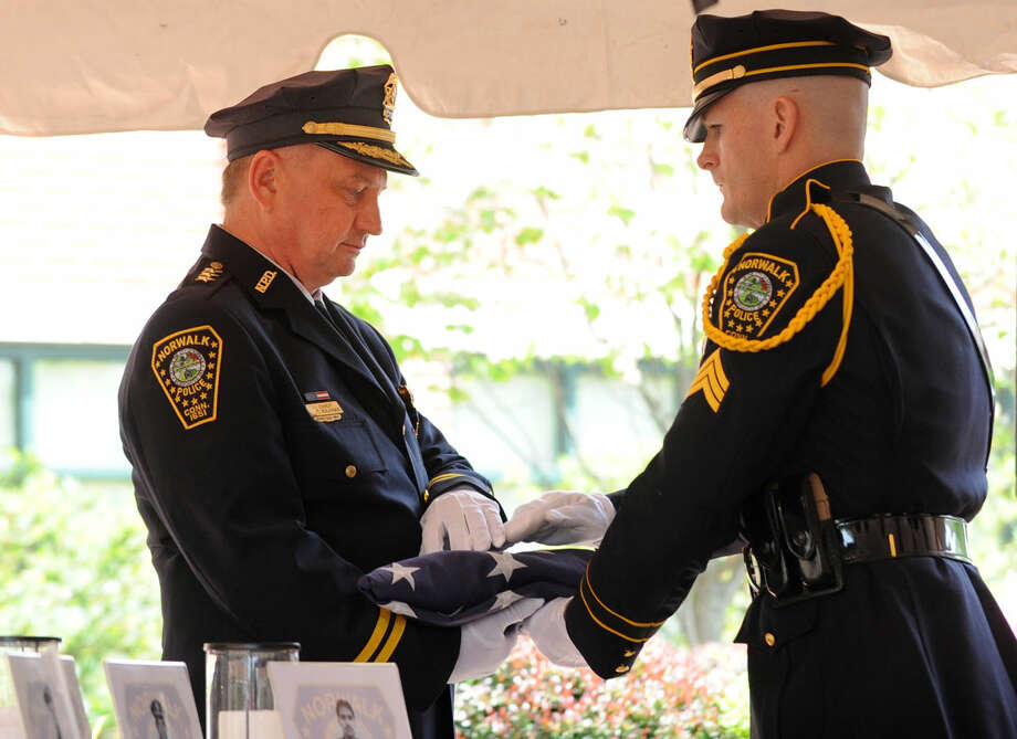 The annual Norwalk Police Department Memorial was held on Wednesday, May 18, 2016 at police headquarters in Norwalk, Conn. The service was held as part of national police week to honor the memory of fellow officers who have lost their lives in the service as well as those lost to suicide.
