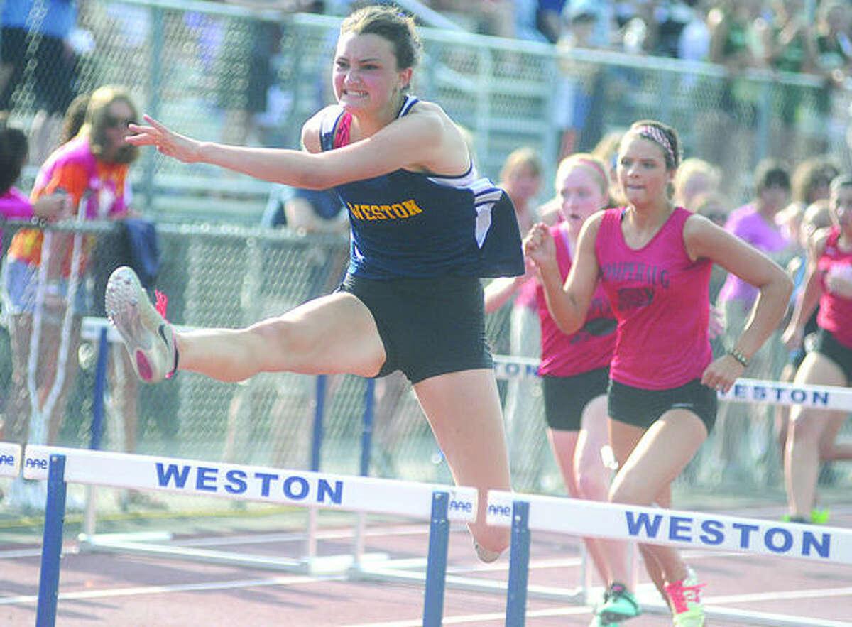 Nathalie Feingold girls semi 100 m winner. Hour photo/Matthew Vinci