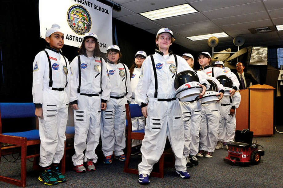 Hour photo / Erik Trautmann Columbus Magnet School observes the 19th annual Young Astronaut mission, Terra Nova simulated landing at Friday morning.