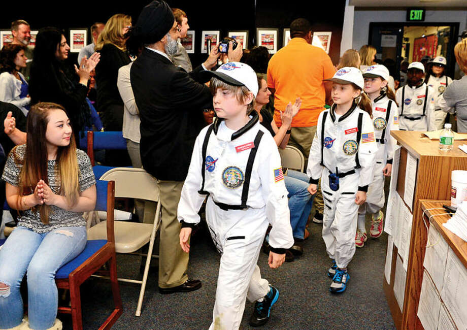 Hour photo / Erik Trautmann Mission control is welcomed as Columbus Magnet School observes the 19th annual Young Astronaut mission, Terra Nova simulated landing at Friday morning.