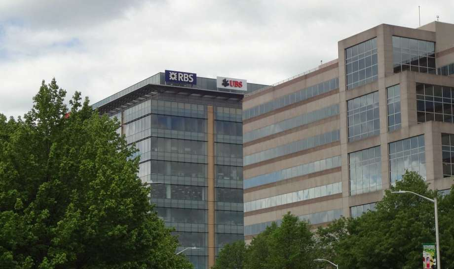 In May 2016, UBS added its sign to the Royal Bank of Scotland building at 600 Washington Boulevard in Stamford, Conn., having long occupied offices and a trading floor across the street at 677 Washington Boulevard. (Photo: Alex Soule/Hearst Connecticut Media)