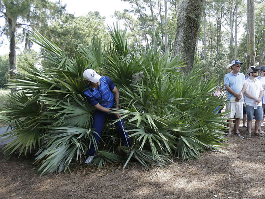 Aaron Baddeley, of Australia, hits from inside a bush off the eighth green during the first round of The Players championship golf tournament at TPC Sawgrass, Thursday, May 8, 2014 in Ponte Vedra Beach, Fla. (AP Photo/Gerald Herbert)