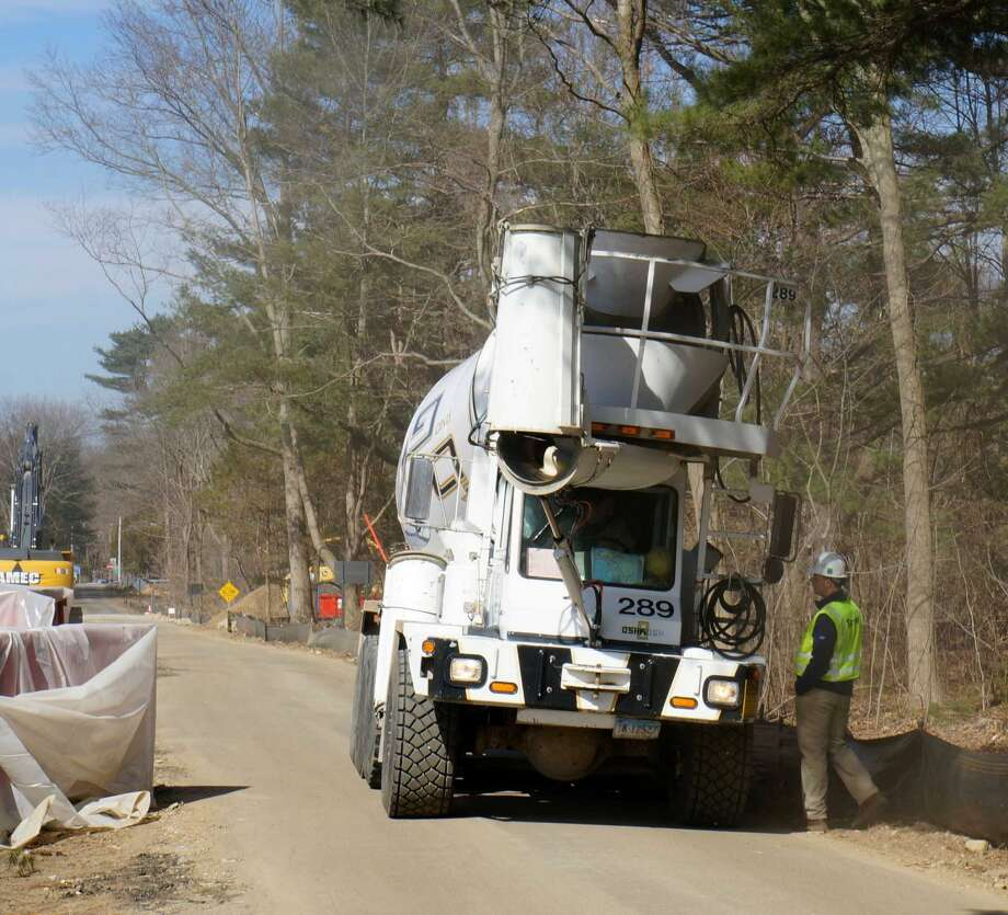A concrete mixer arrives Friday at the Mahackeno site. Friday, April 5, 2013/ Westport, CT