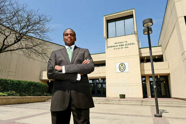 Hour photo / Erik Trautmann Norwalk High School Principal Reginald Roberts is heading the Norwalk Early College Academy, a collaborative effort between Norwalk Public Schools, NCC and IBM, set to open Fall 2014.
