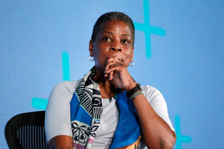 Ursula Burns, chairwoman and C.E.O. of Xerox Corp., speaks on March 1 in Half Moon Bay, Calif.