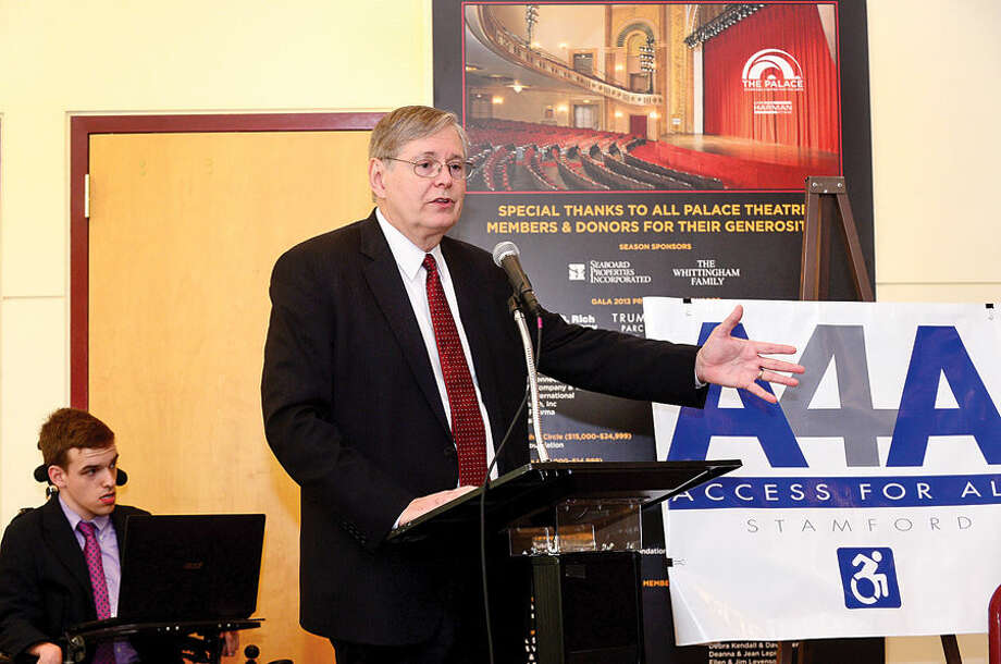 Mayor David Martin speaks during a Stamford Access 4 All (A4A) press conference Wednesday at the Palace Theater. The mayor's committee on Access 4 All is a group of dedicated citizens and government representatives committed to improving access for all persons, regardless of ability, to Stamford's public programs, properties and services.