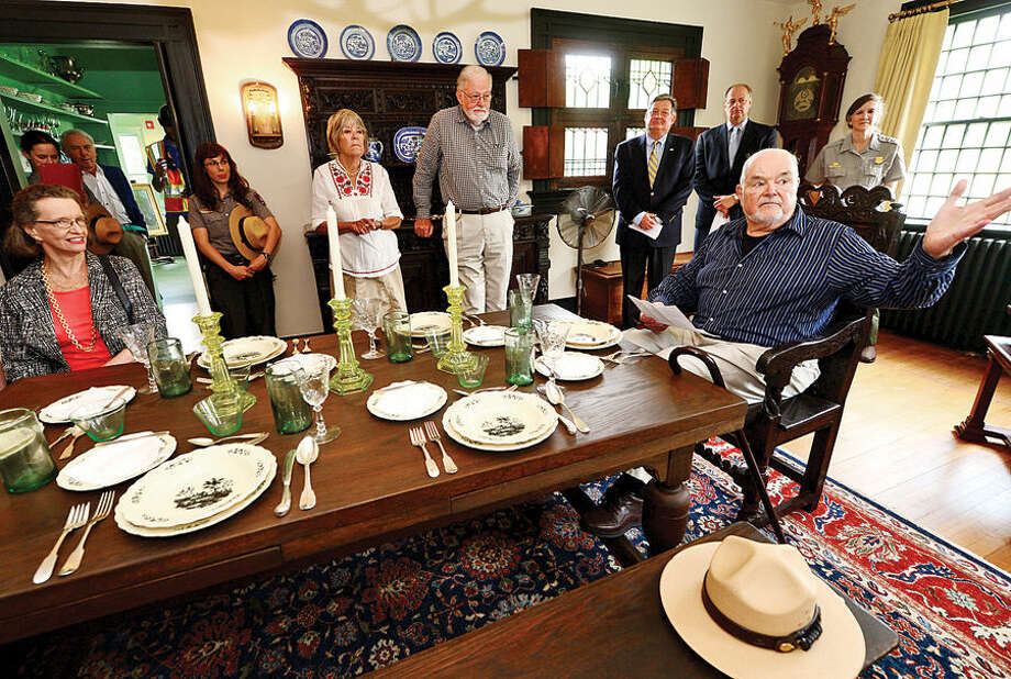 Hour photo / Erik Trautmann Charlie Burlingham, grandson of visionary American Impressionist Julian Alden Weir and President of the Weir Farm Art Center, donates his grandfather's works on behalf of the Weir Farm Art Center to Weir Farm National Park during a press conference Thursday.
