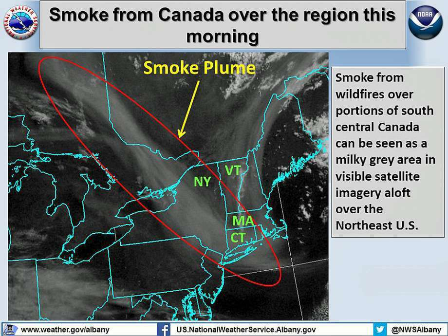 The National Weather Service says a band of smoke is drifting across the Northeast from Quebec, Canada to south of Long Island Friday, May 20, 2016.