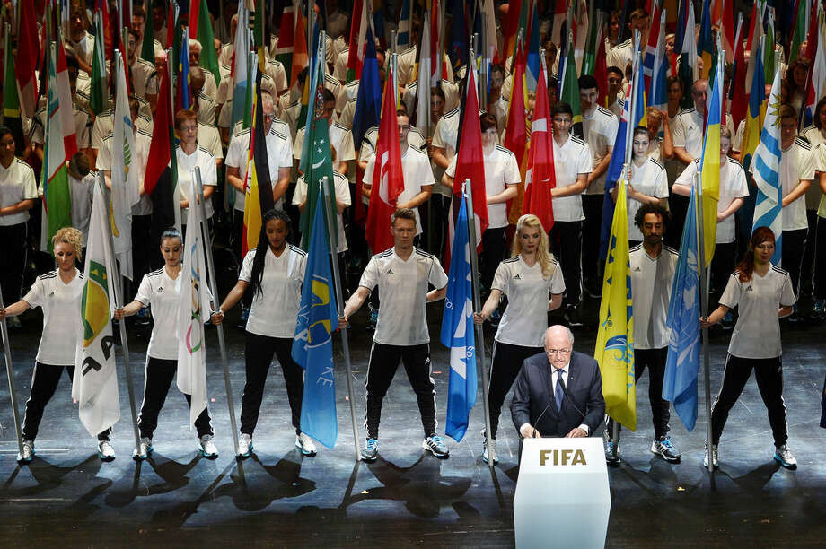 FIFA President Sepp Blatter, front right, speaks at the opening ceremony of the FIFA congress in Zuerich, Switzerland, Thursday, May 28, 2015. The FIFA congress with the president's election is scheduled for Friday, May 29, 2015 in Zurich. (Walter Bieri/Keystone via AP)
