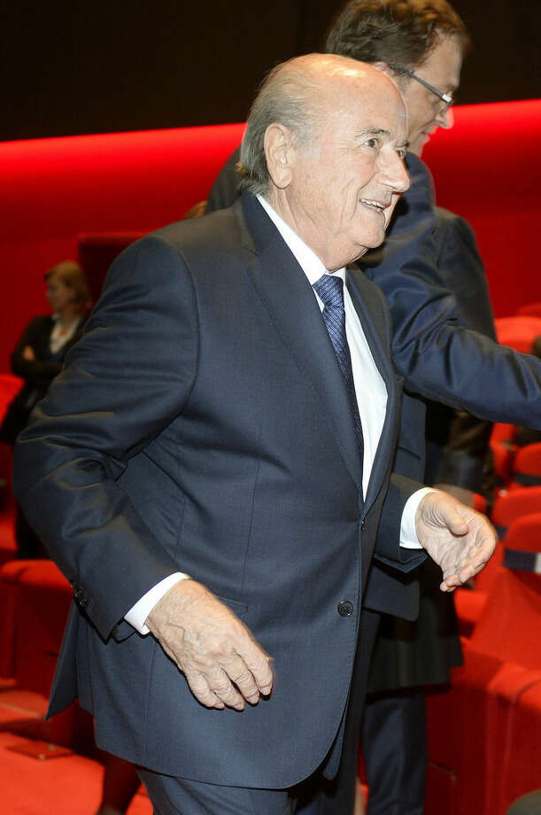 FIFA President Sepp Blatter arrives for the opening ceremony of the FIFA congress in Zuerich, Switzerland, Thursday, May 28, 2015. The FIFA congress with the president's election is scheduled for Friday, May 29, 2015 in Zurich. (Walter Bieri/Keystone via AP)