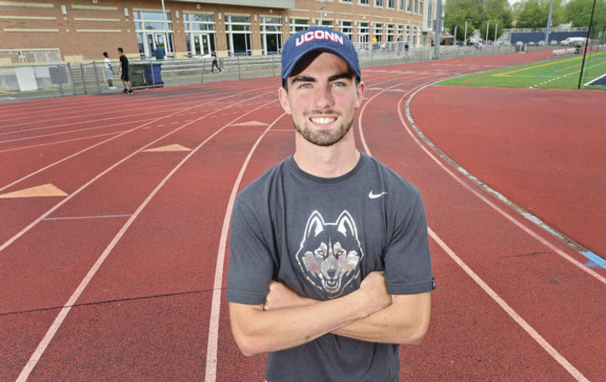 Brien McMahon High School track standout Daniel Linehan signed his National Letter of Intent to attend the University of Connecticut and run for the Huskies track team Friday, May 13, 2016 at the school.