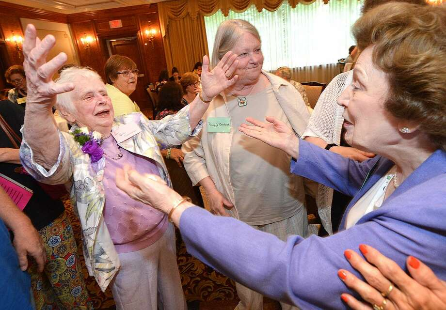 Hour Photo/Alex von Kleydorff Dr. Beatrice Krawiecki greets longtime freinds like Ida Chiaia during a retirement party for her after almost 60 years with the Norwalk Public School system