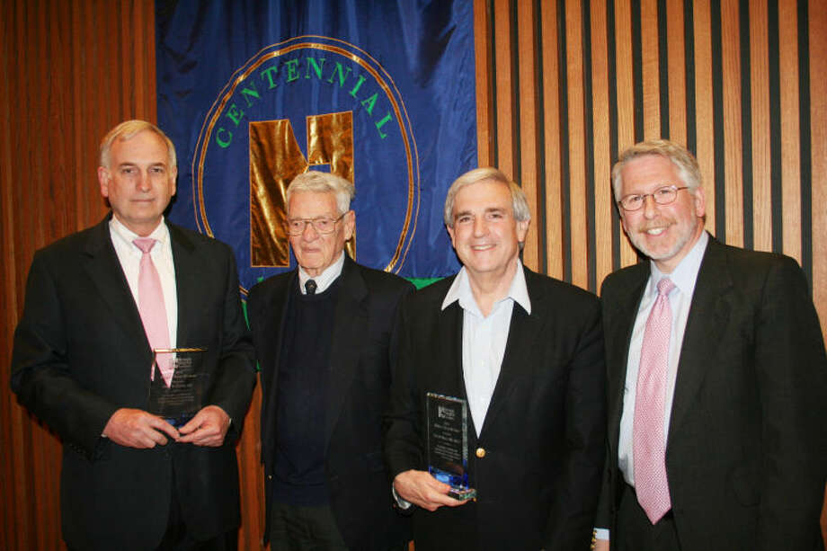 2014 William J. Tracey, MD Award recipient Dr. Peter R. Dodds; special guest, Dr. Edward Tracey (grandson of Award's namesake); 2014 William J. Tracey, MD Award recipient Dr. Eric M. Mazur; and Dr. Howard Eison, Chairman, Norwalk Hospital Foundation Board of Directors.