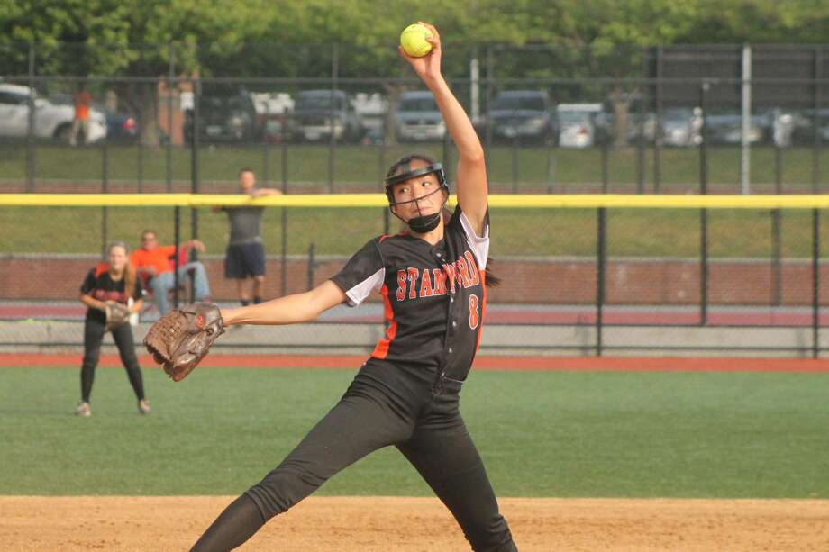 Stamford's Sara Staley pitches during the Black Knights' 2-1 loss to St. Joseph in the FCIAC finals on Friday. (Joe Ryan/Stamford Times)