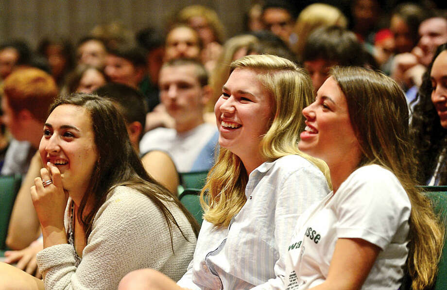 Hour photo / Erik Trautmann Norwalk High School students listen to Congresswoman Mia Love who spoke at her alma mater Friday.