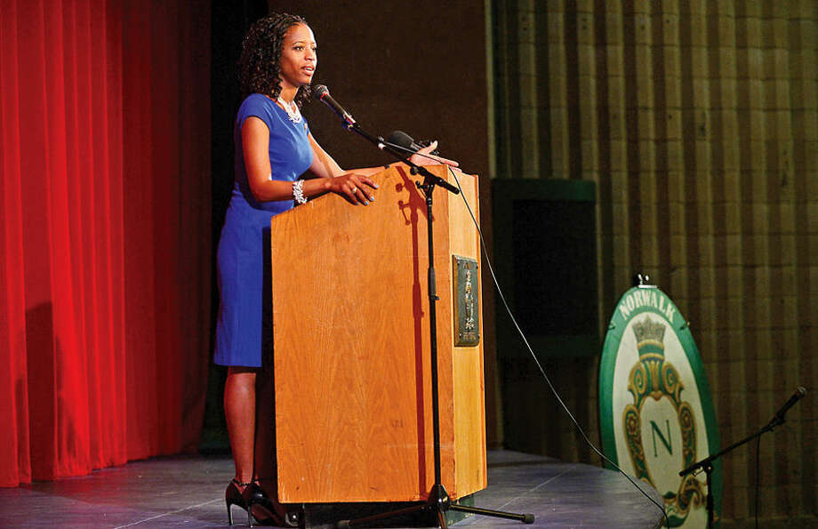 Hour photo / Erik Trautmann Congresswoman Mia Love speaks to students at her alma mater, Norwalk High School, Friday.