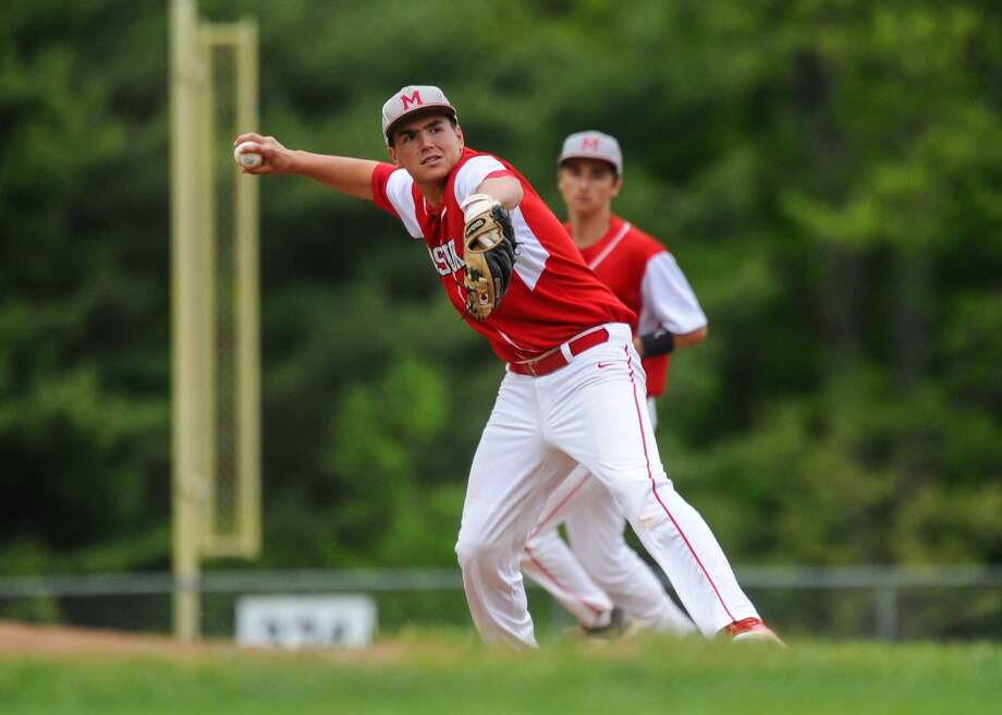 SWC Baseball quarterfinal action between the Masuk Panthers and the Notre Dame of Fairfield Lancers at Masuk High School on May 21, 2016 in Monroe, Connecticut.