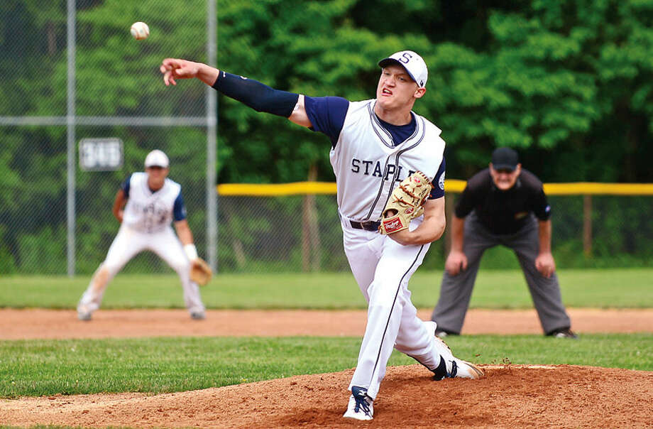Staples' Ryan Fitton threw a complete game shutout, allowing just four hits in the Wreckers' 7-0 win over South Windsor.
