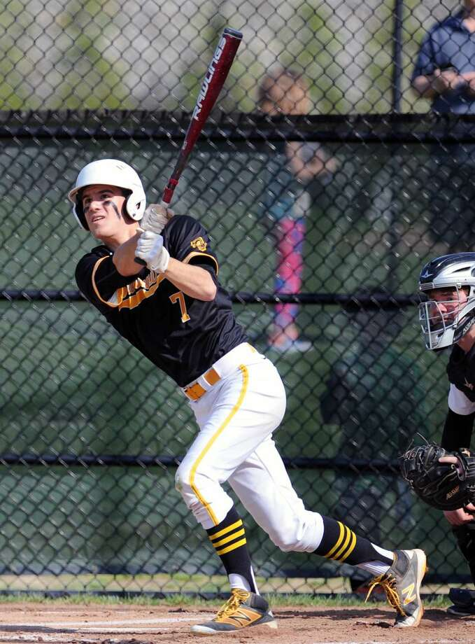 Brunswick's Teddy Sabato hits a lead-off home run in the bottom of the first inning during Friday's FAA championship. The Bruins beat Hamden Hall 7-1.