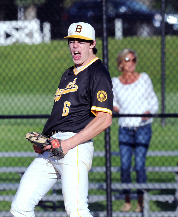 Brunswick relief pitcher Trevor Johnson celebrates after striking out the final Hamden Hall batter in the Bruins' 7-1 win over Hamden Hall in the FAA championship in Greenwich.