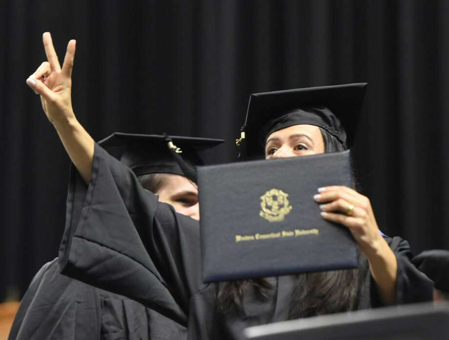 Photos from the Western Connecticut State University commencement ceremony at Webster Bank Arena in Bridgeport, Conn. Sunday, May 22, 2016. More than 800 of the university's 1,235 eligible undergraduate candidates participated in the ceremony, along with more than 60 graduate candidates.