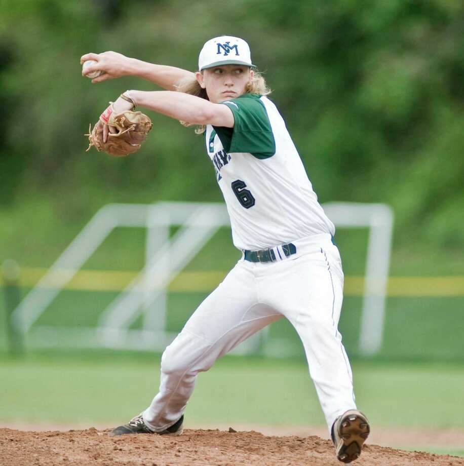New Milford High School pitcher Cooper Knight delivers a pitch in a game against Bethel High School, played at New Milford. Saturday, May 21, 2016