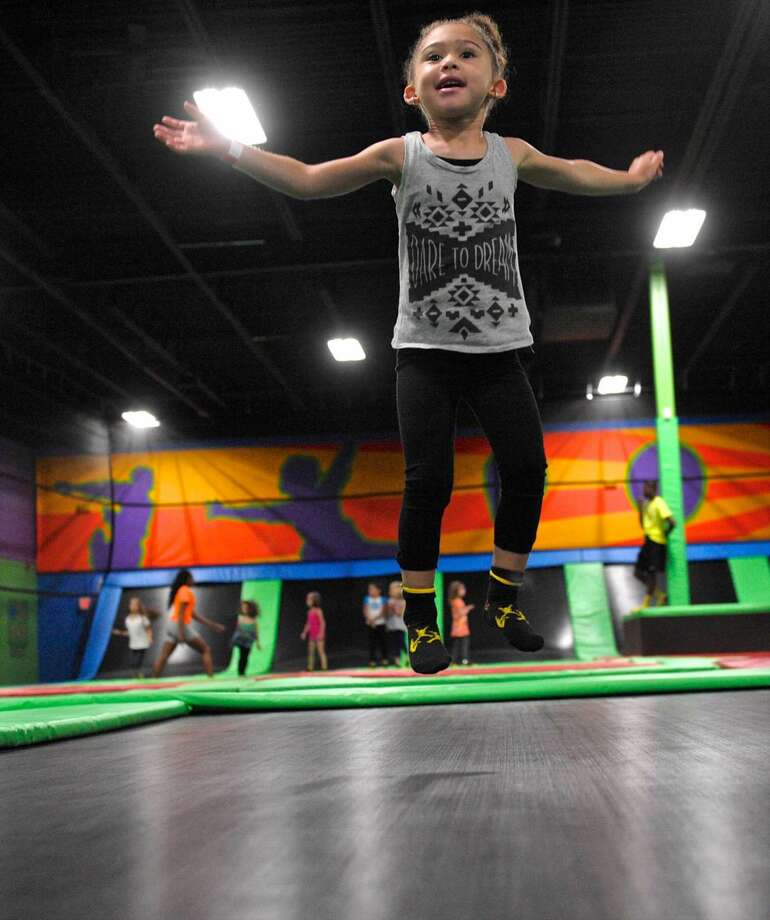 Jordana Jones, 4, of Pleasantville, NY, attended a birthday party at Bounce! Trampoline Sports, in Danbury, which was holding their grand opening. Saturday, May 21, 2016, in Danbury, Conn. The proceeds from the day were to benefit the Caroline Previdi Foundation, created to honor Previdi who was lost in the Sandy Hook tragedy.