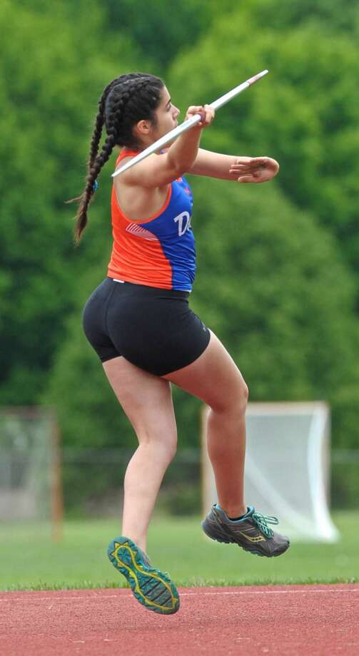 Danbury's Isabella DeSouza competes in the javelin during the FCIAC girls track championships, held at Bethel High School, Saturday, May 21, 2016, in Bethel, Conn.
