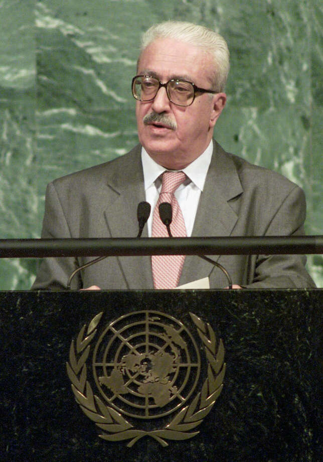 FILE - In this Thursday, Sept. 7, 2000, file photo, Iraqi Foreign Minister Tariq Aziz speaks during the U.N. Millennium Summit at the United Nations. Tariq Aziz, the debonair Iraqi diplomat who made his name by staunchly defending Saddam Hussein to the world during three wars and was later sentenced to death as part of the regime that killed hundreds of thousands of its own people, has died in a hospital in southern Iraq. He was 79. (AP Photo/Richard Drew, File)