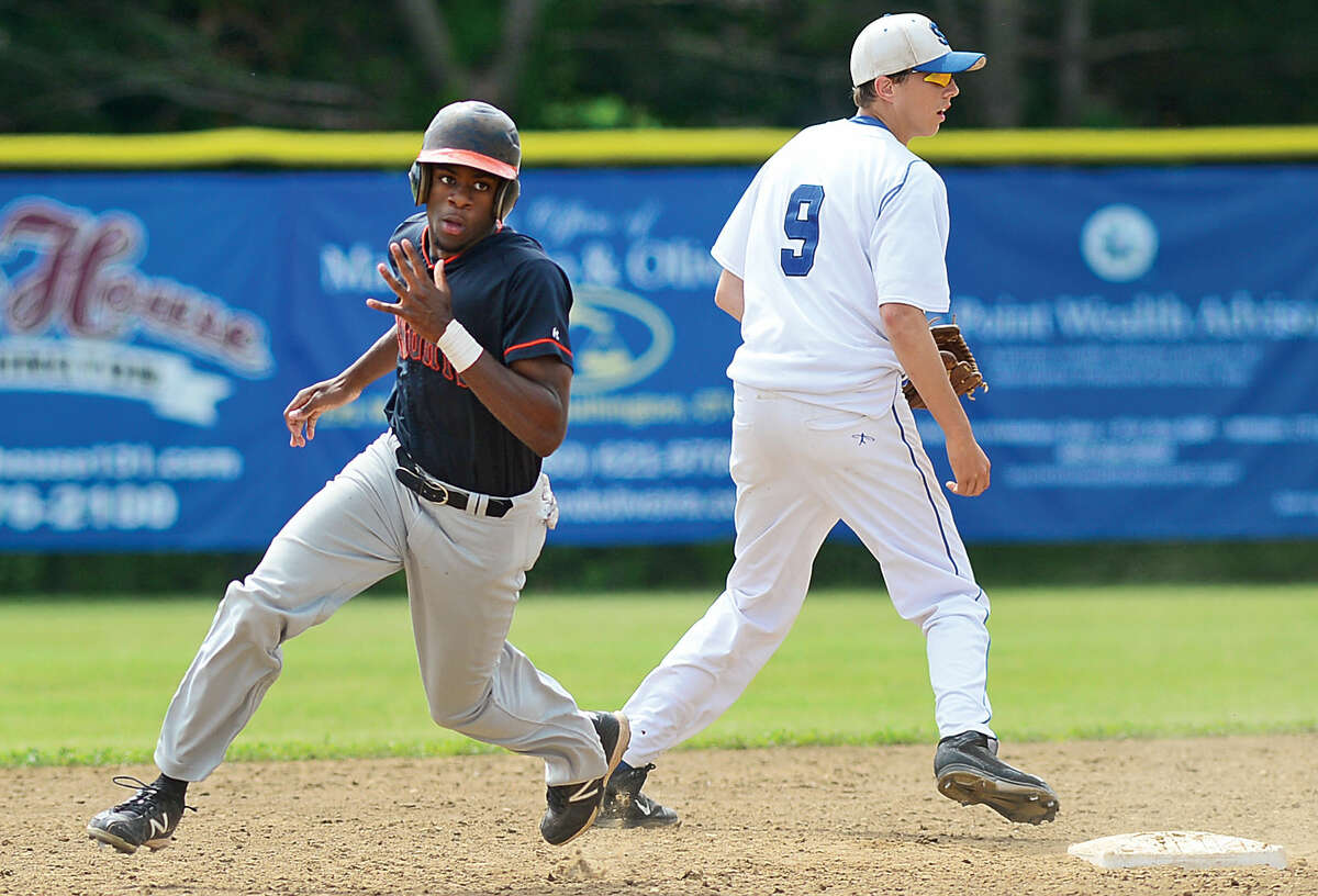 Stamford's Jalen Brown rounds second during their sate tournament semi-final loss against Southington Friday afternoon. (Hour photo / Erik Trautmann)
