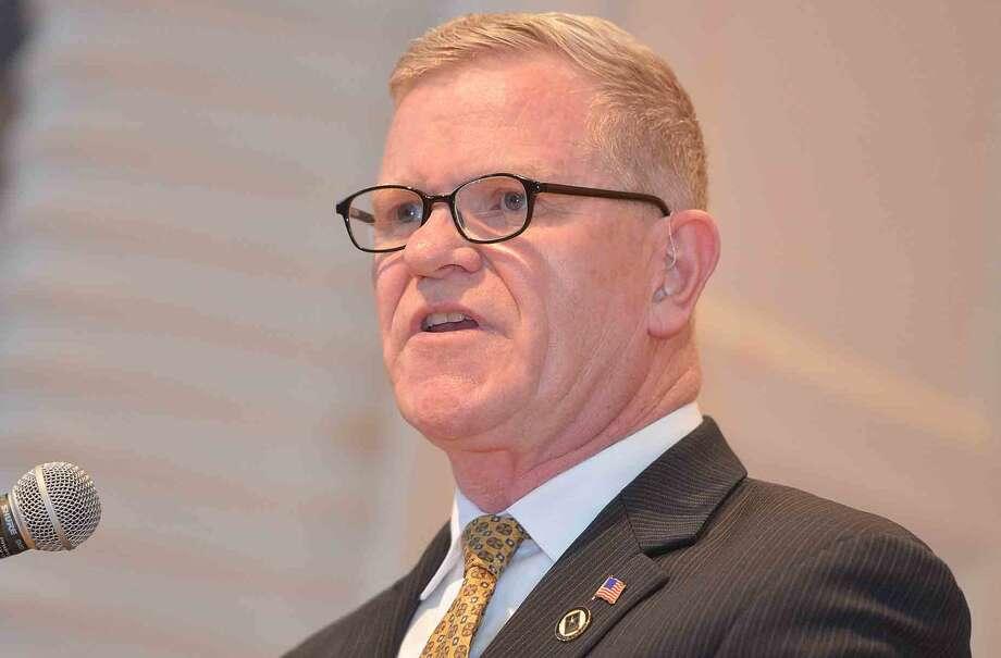 Keynote Speaker Major General Peter M Aylward presents his speech Veterans Hall of Honor Dedication Ceremony at Norwalk City Hall in Norwalk Conn. May 22 2016