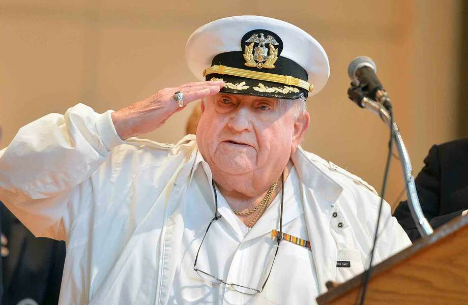 Ralph DePanfilis Sr. salutes as he reads the Pledge of Allegiance during the Veterans Hall of Honor Dedication Ceremony at Norwalk City Hall in Norwalk Conn. May 22 2016