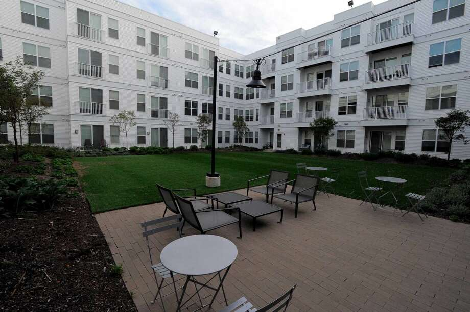 An exterior shot of one of four outside patio areas available to residents of 75 Tresser in Stamford on May 11, 2016.