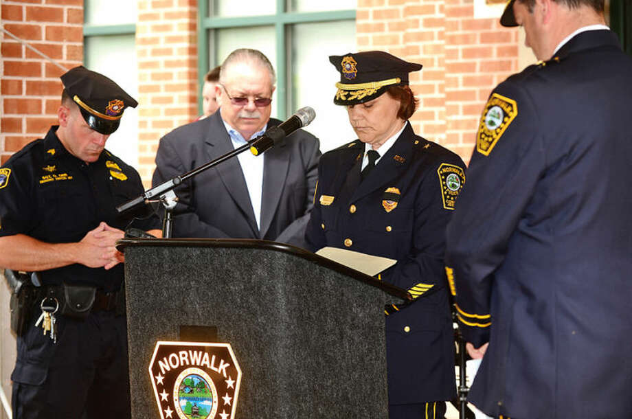 Hour photo / Erik Trautmann Norwalk Police Department honors the four Norwalk officers who have given their lives in the line of duty as well as those retired officers the department has lost in the past year in a memorial ceremony Wednesday morning.