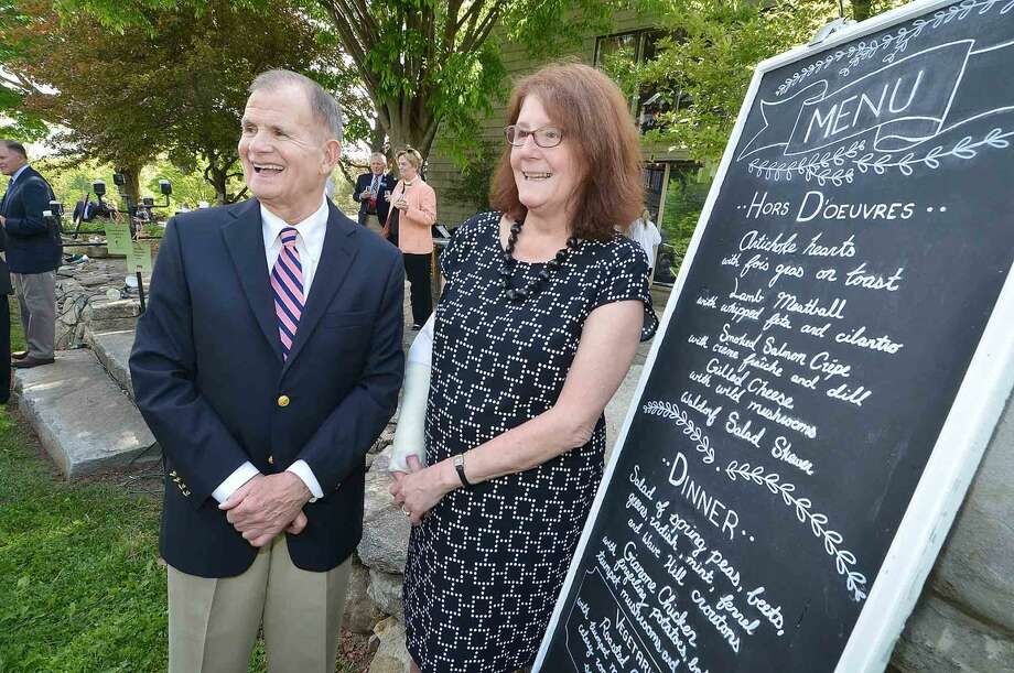 At The Wilton Y's 30th Annual Wilton Community Celebration at Millstone Farm, Bruce Hampson and Karen Birk are the Wilton Family Y's Distinguished Citizens of the Year, in Wilton Conn. May 22 2016