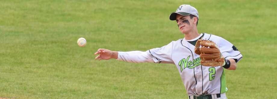 Norwalk played Darien in an FCIAC baseball semifinal on Monday.