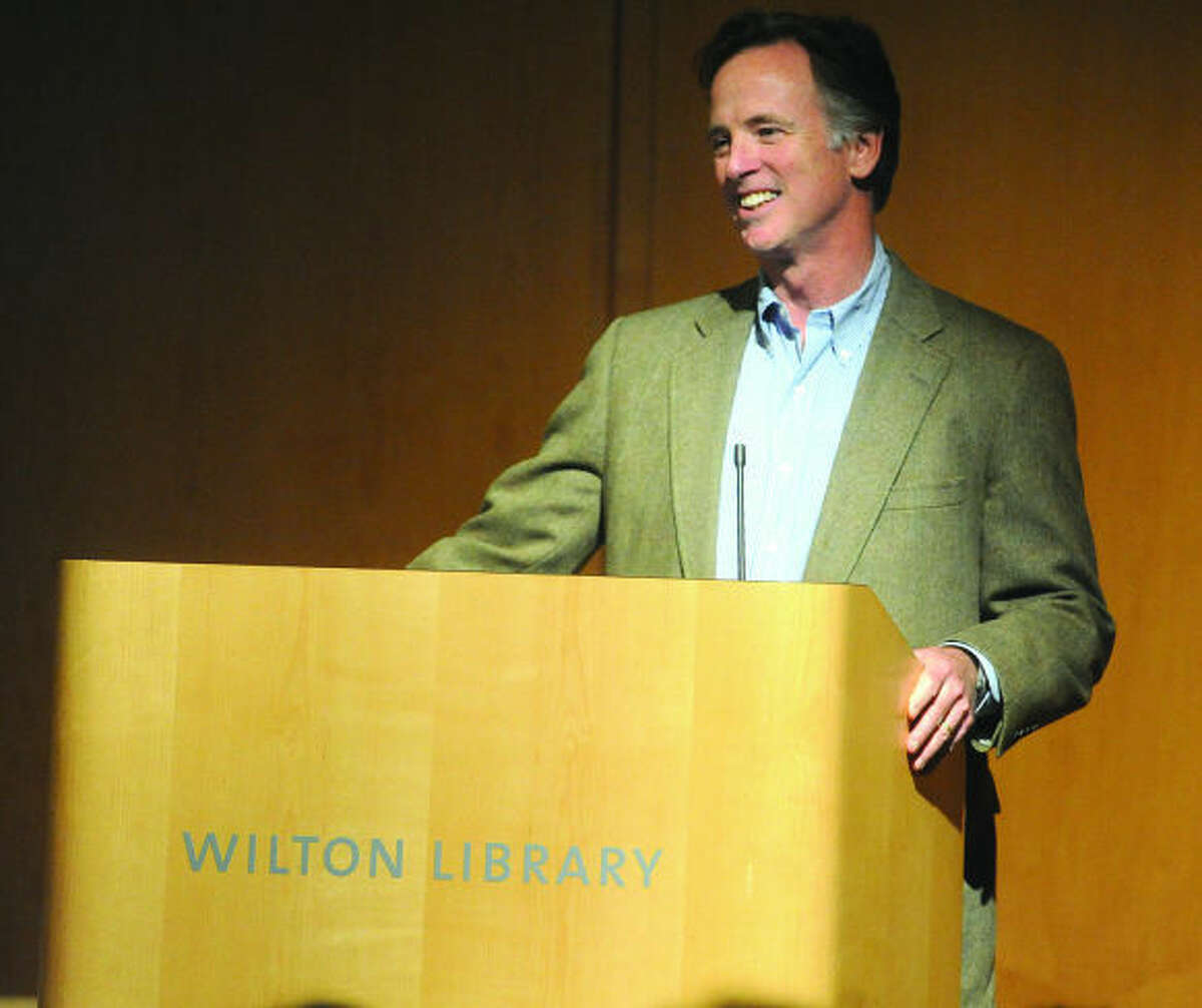 """Hour photo / Matthew Vinci Viral video graduation speaker and author of """"You Are Not Special"""" David McCullough Jr. gives talk at the Wilton Library's Brubeck Room."""