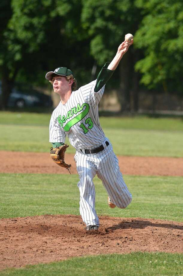 Norwalk's Ryan Searles threw a complete game, allowing just two runs and four hits in Norwalk's 3-2 win over Bristol Central. (Hour Photo/Alex von Kleydorff)