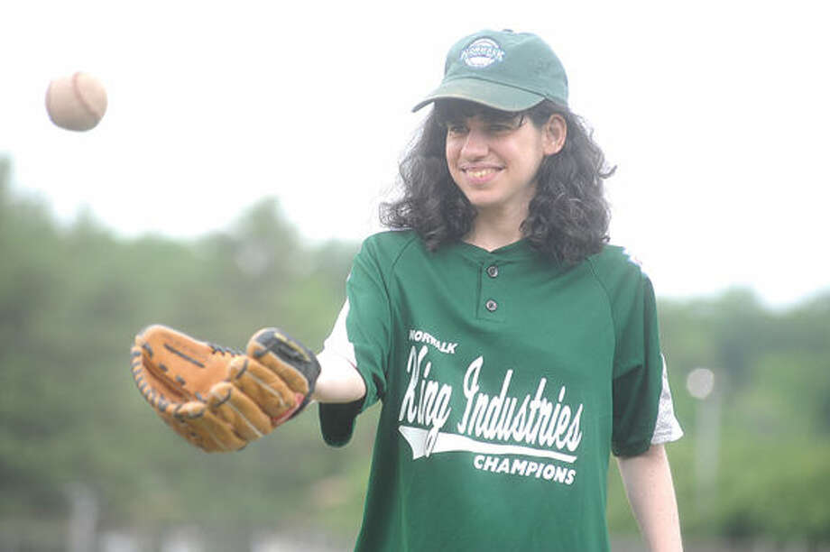 Lisa Taccone wi the King Industries Champions Sunday for the Norwalk Little League Challenger Division game at the Broadriver field in Norwalk. Hour photo/Matthew Vinci