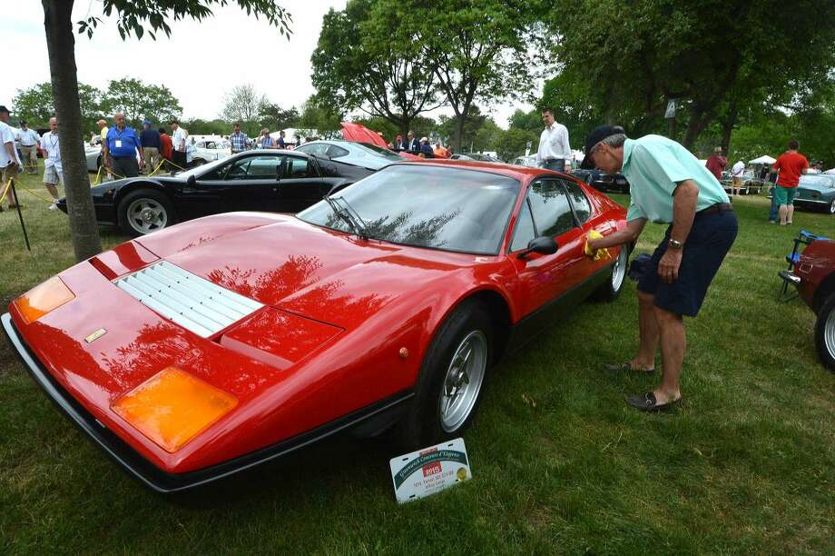 Hour Photo/Alex von Kleydorff. Sunday was imported cars day and Jeffrey Camps keeps the dust off his 1974 Ferrari 365 GT4 BB even though it has already been judged during the 2015 Greenwich Concours d' Elegance
