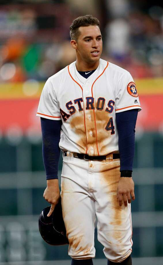 Houston Astros right fielder George Springer (4) reacts after Jose Altuve grounded out during the tenth inning of an MLB baseball game at Minute Maid Park, Tuesday, May 24, 2016.