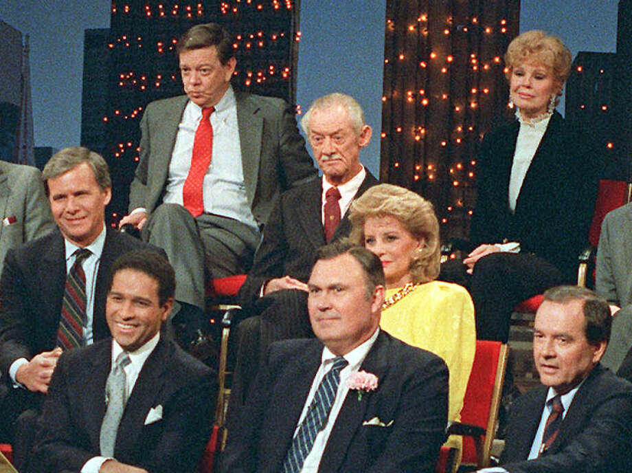 "FILE - In this Jan. 14, 1987 file photo, NBC ""Today"" cast members past and present are reunited in New York City. From left to right are Tom Brokaw, Bryant Gumbel, Jim Hartz, Sylvester ""Pat"" Weaver, Willard Scott, Barbara Walters, Betsy Palmer and John Palmer. Betsy Palmer, the actress whose long film, stage and television career began in 1951 in the early days of live television and who later found a new generation of fans in her role as Mrs. Vorhees in the cult film classic Friday the 13th, has died at the age of 88, it was announced today by her longtime manager Brad Lemack. Lemack reports that Palmer died of natural causes on May 29, 2015, at a hospice care center near her Danbury, Conn., home.(AP Photo/ Marty Lederhandler, File)"