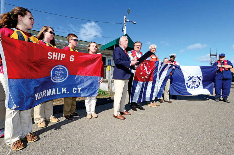 Hour photo / Erik Trautmann Norwalk Mayor Harry Rilling The Norwalk Sea Scouts, The Norwalk Sail and Power Squadron and The Norwalk Coast Guard Auxiliary Flotilla 72 declare May 17 through May 23 National Safe Boating Week Saturday at Veterans Memorial Park.