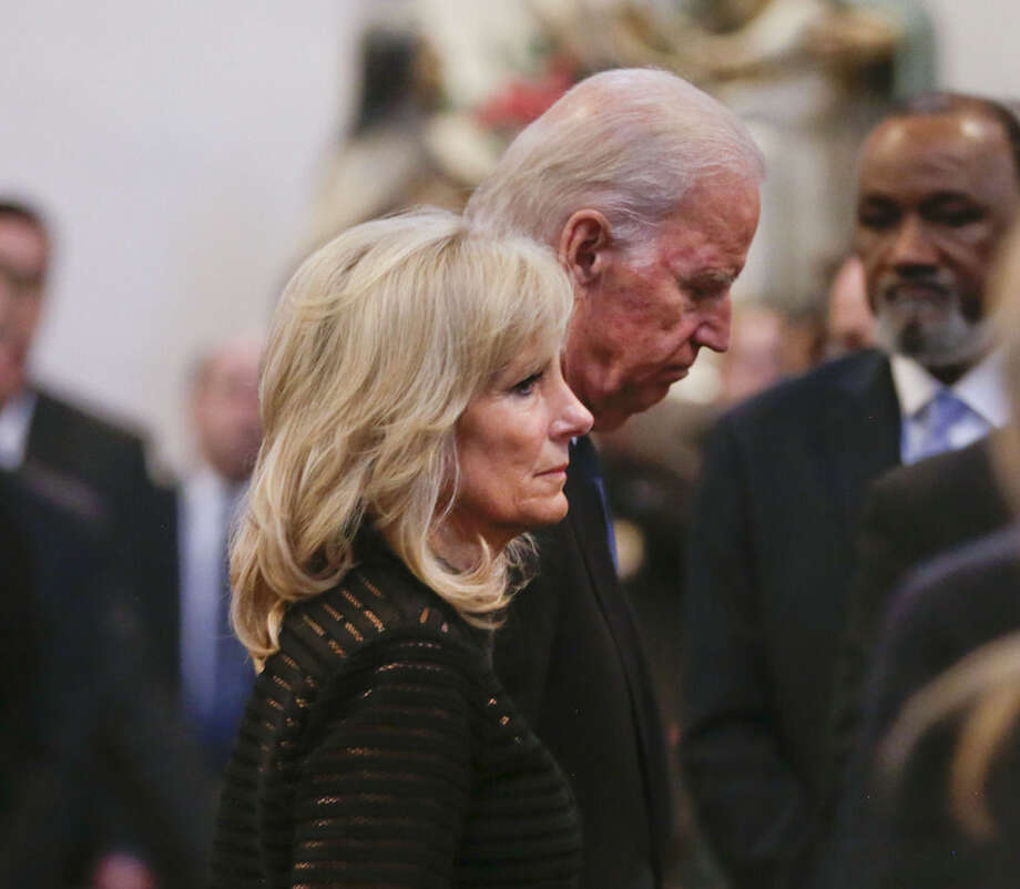 Vice President Joe Biden and his wife Jill Biden leave funeral services for former Delaware Attorney General Beau Biden, Saturday, June 6, 2015, at St. Anthony of Padua Church in Wilmington, Del. Biden, the Vice President Biden's eldest son, died at the age of 46 after a battle with brain cancer. (AP Photo/Pablo Martinez Monsivais, Pool)