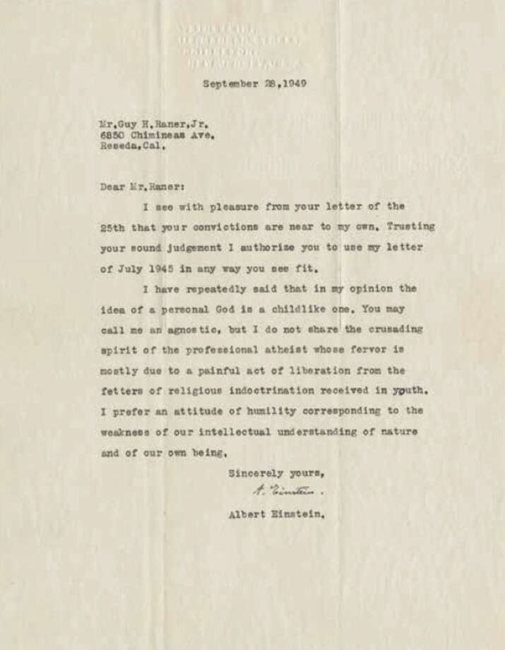 This undated image provided by Profiles in History shows a letter written on September 28, 1949, by legendary physicist Albert Einstein on his idea of God. He's known far and wide for the theory of relativity, for research that helped lead to the development of the atomic bomb and as the most brilliant physicist of the 20th century. Lesser known is that Albert Einstein was also a father who worried his son wasn't taking his geometry studies seriously enough, that he was indebted to a favorite uncle for giving him a toy steam engine when he was a boy that launched a lifelong interest in science. He also believed the infidelity of a friend's spouse was no big deal. These reflections and other personal opinions on God and politics are contained in 27 letters being offered by a private collector at auction this week. (Profiles In History via AP)