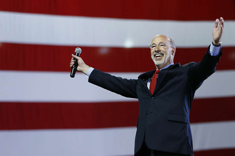 Pennsylvania Democratic gubernatorial nominee Tom Wolf gestures as he speaks to supporters during a primary election night watch party Tuesday, May 20, 2014, in York, Pa. Pennsylvania Democrats have chosen Wolf to challenge Republican Gov. Tom Corbett in the fall. (AP Photo/Matt Rourke)