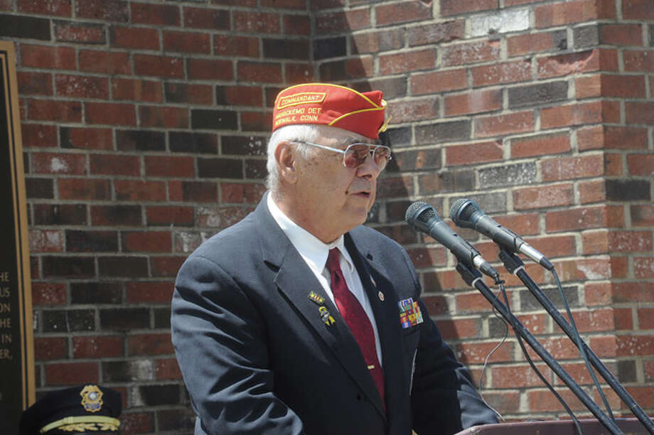 Opening remarks by Dan Caporale, Chairman, Norwalk Veterans Memorial Committee at the Shea-Magrath Memorial Ceremony Sunday at Calf Pasture Beach. Hour photo/Matthew Vinci